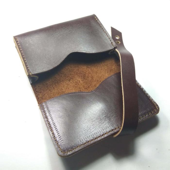 Dompet Kulit ASLI Premium kartu atm kartu nama sim ktp warna coklat m