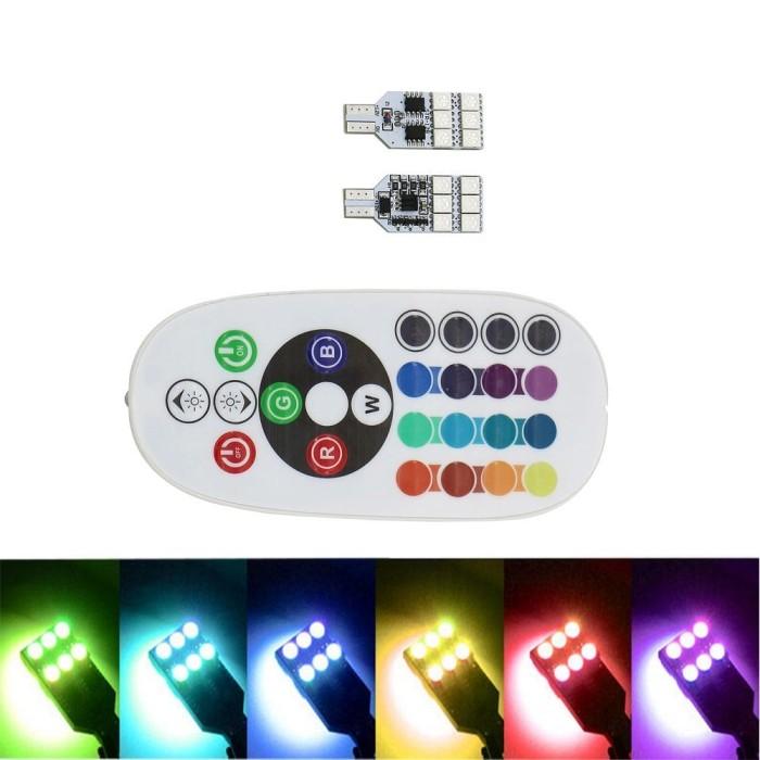harga Led t10 12 smd 5050 rgb remote untuk lampu senja/kabin (motor/mobil) Tokopedia.com
