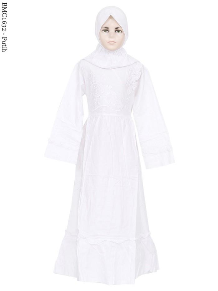 harga Baju muslim gamis anak syar'i warna putih motif bordir senada Tokopedia.com