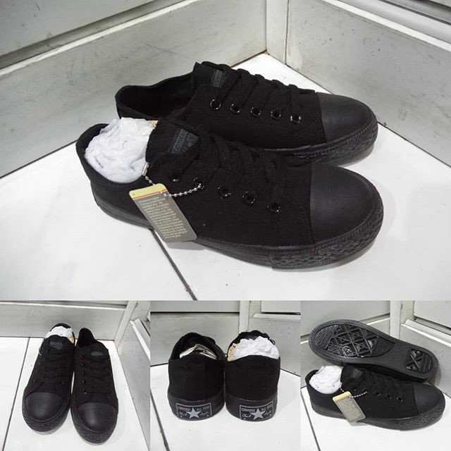 ... harga Sepatu anak converse allstar chucktaylor classics low full black  hitam Tokopedia.com 354ef7b131