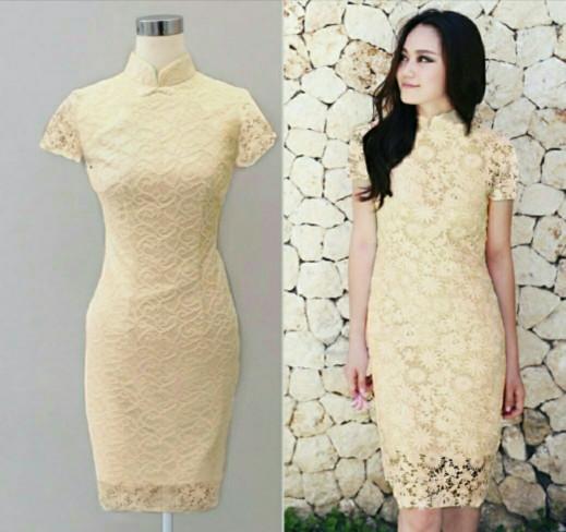harga Dress midi/mini/gaun full brukat/brokat/lace shanghai cantik modern Tokopedia.com