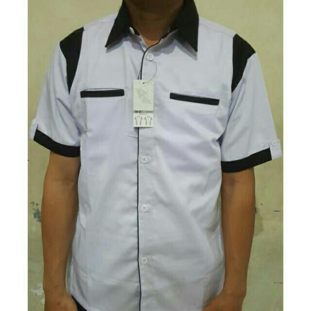 Jual kemeja seragam kerja drill hitam list putih cek harga di ... d6d7e82eed
