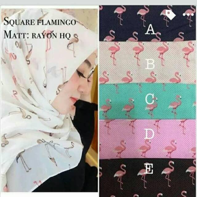 Harga Kerudung Hijab Jilbab Segi Empat Wolfis Square Motif Flamingo