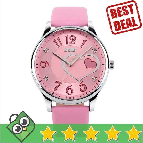 Jam Tangan Wanita Skmei Casual Ladies Leather Original 9085cl Pink