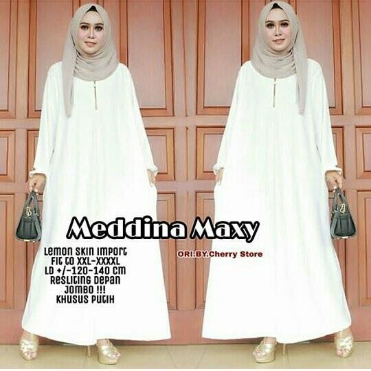 Jual Gamis Putih Polos Jumbo Busui Jersey Dress Muslim Big Size Xxxl