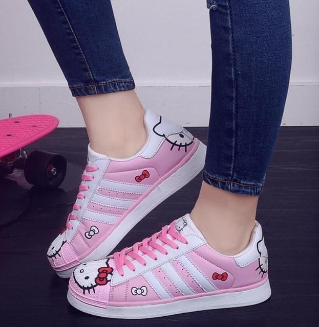 harga Sepatu kets sneakers wanita murah hello kitty krf30 pink Tokopedia.com