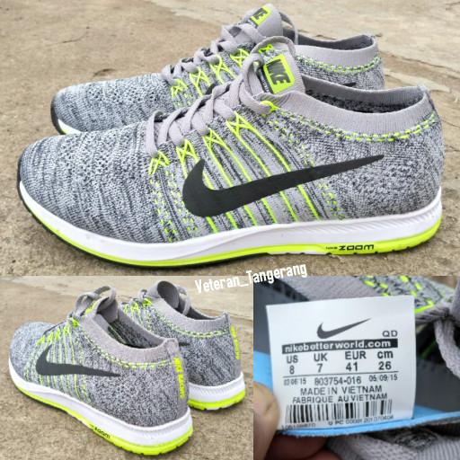 Jual Sepatu Running Nike Zoom FlyKnit Streak 6 Grey Oreo Original ... 4610fa54d1