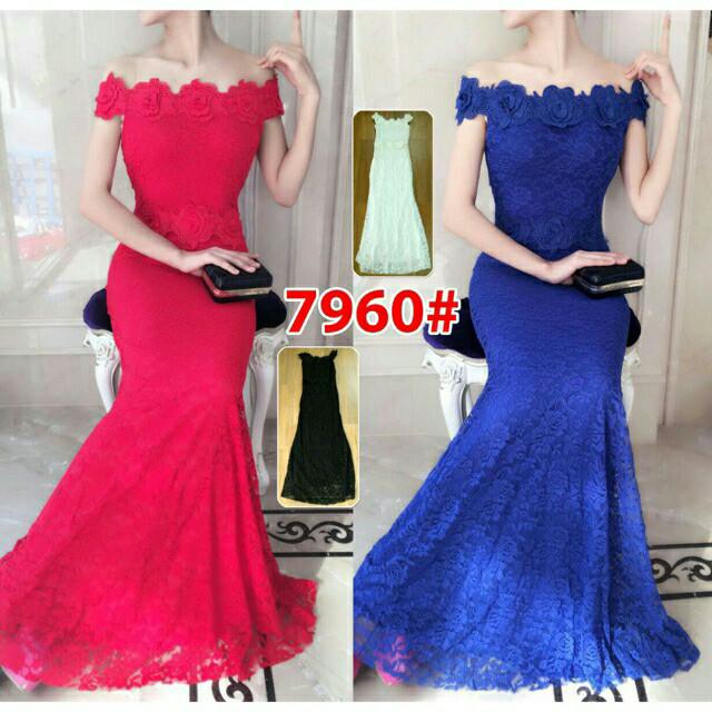 harga 7860 long dress pesta brukat mewah import Tokopedia.com