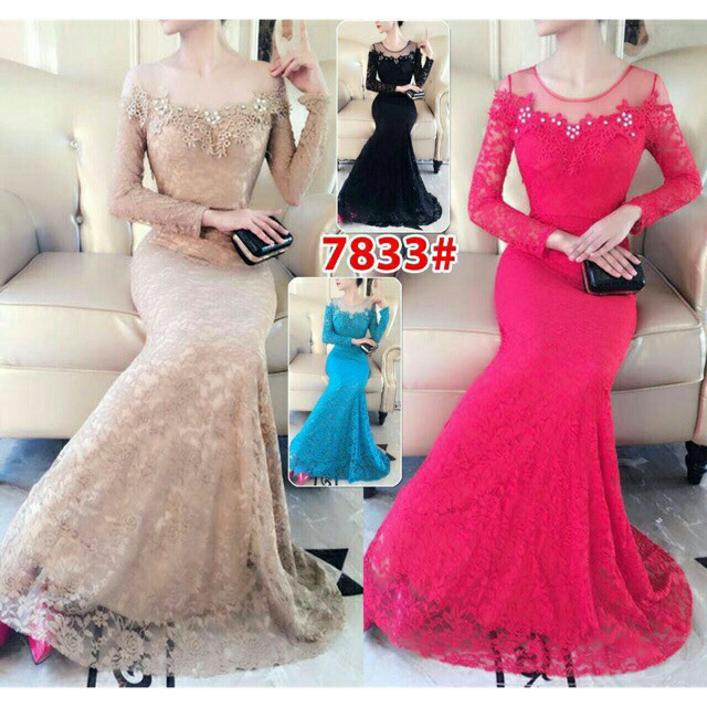harga 7833 long dress brukat pesta import Tokopedia.com