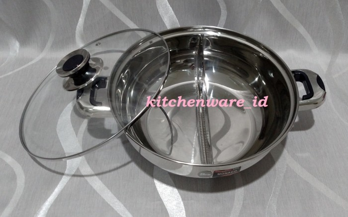 harga Panci suki shabu shabu steamboat stainless steel sekat 28 cm Tokopedia.com