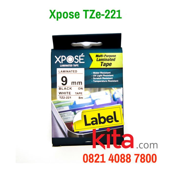 harga Compatible xpose label tape tze-221 black on white 9mm - laminated Tokopedia.com