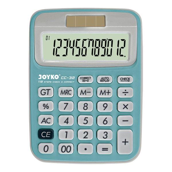 Calculator / Kalkulator Joyko CC-32 / 12 Digits / Check Correct - Biru Muda