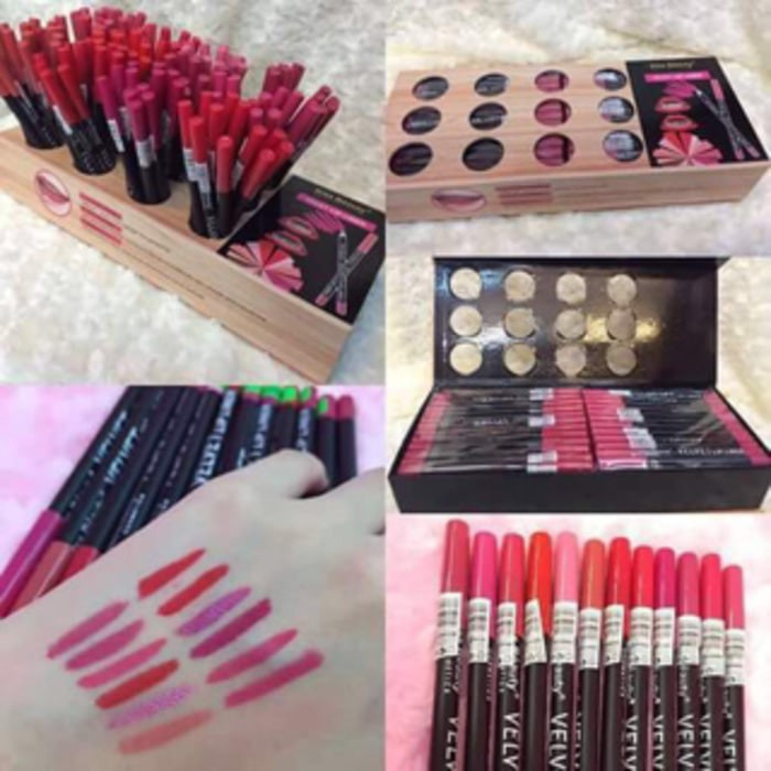 Pensil bibir casing hitam kiss beauty lip liner velvet
