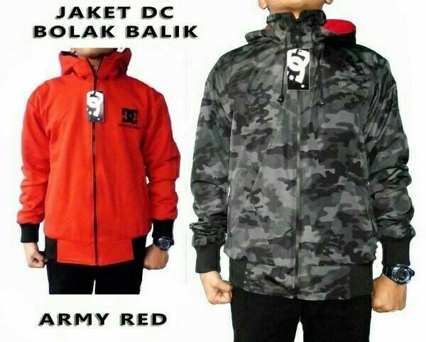 Jual Jaket Pria Bomber Cowok Bolak Balik DC 2in1 Army Merah Murah ... 5384b40c03
