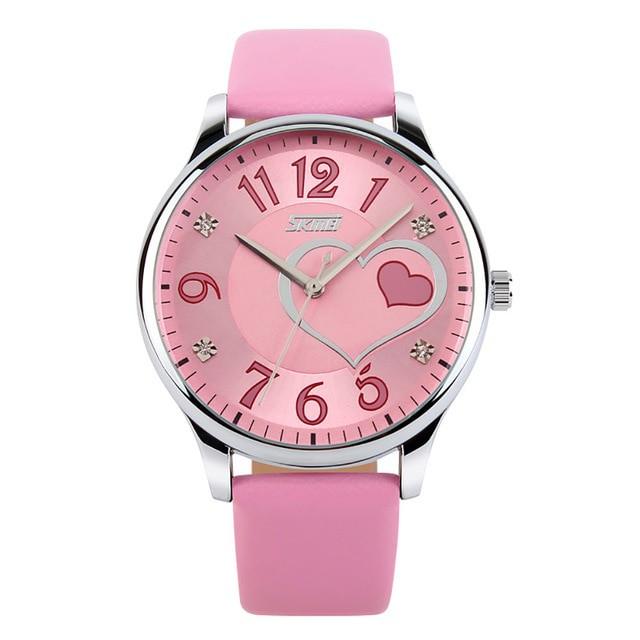 Jam Tangan Wanita Simple Love Skmei 9085 Original Anti Air - Pink Muda