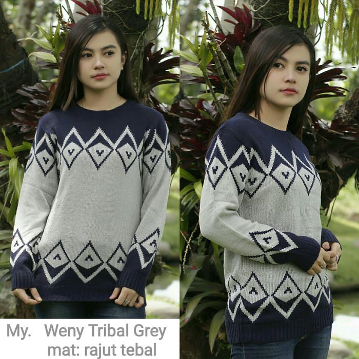 Weny tribal grey outersweater murah tribal zeru laris hijab rajut