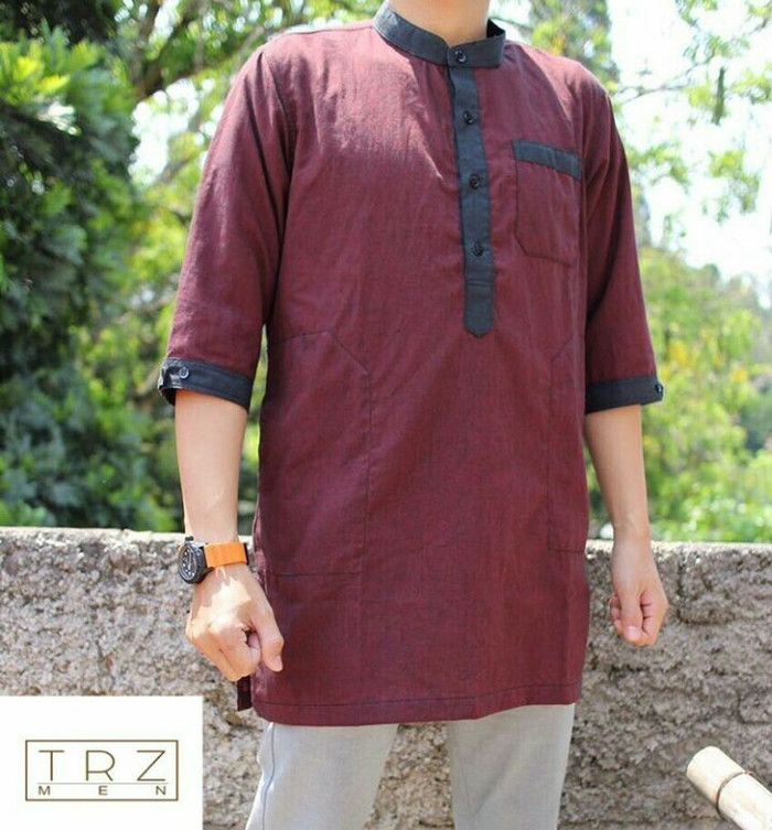Kurta casual trz men / baju koko pakistan premium original trz men