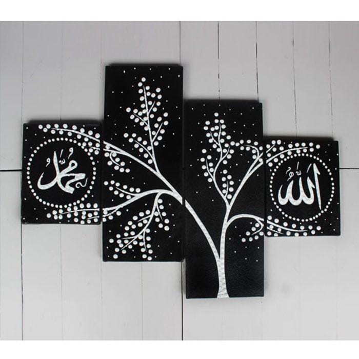 Jual lukisan bunga minimalis kaligrafi hitam putih - Kab. Jepara ...