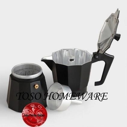 Black Matte Moka Pot Alumunium 6 Cup Mokapot Coffee Espresso Kopi