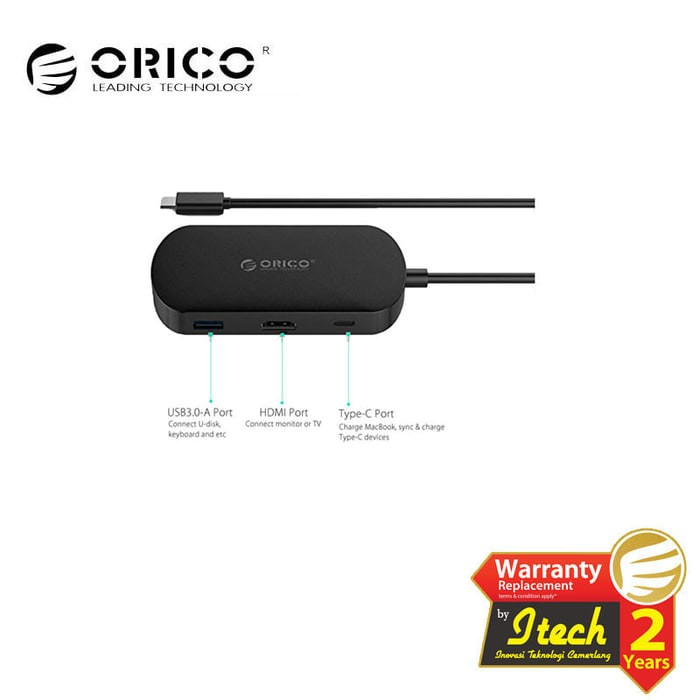 Foto Produk ORICO TCH1 Type-C to Type-C, USB3.0 & HDMI Adapter with PD Function dari Supermassive Indonesia