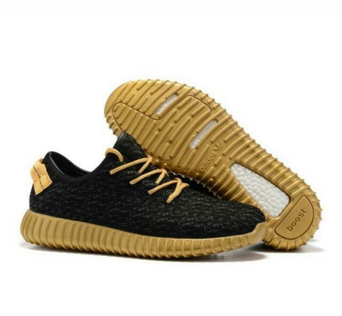 ad93cf58e4bf4 Jual Sepatu Adidas Yeezy Bost 350 Black Gold Series   Sneakers ...