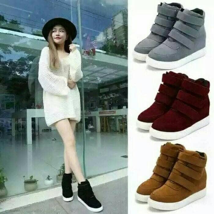 ... harga Sepatu boots boot wanita cewek cewe hitam tan abu merah korea  cantik Tokopedia.com 7e6b1e4c8b