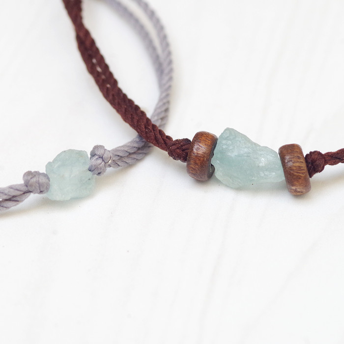 harga Natural raw aquamarine bracelet gelang couple yoga bohemian Tokopedia.com