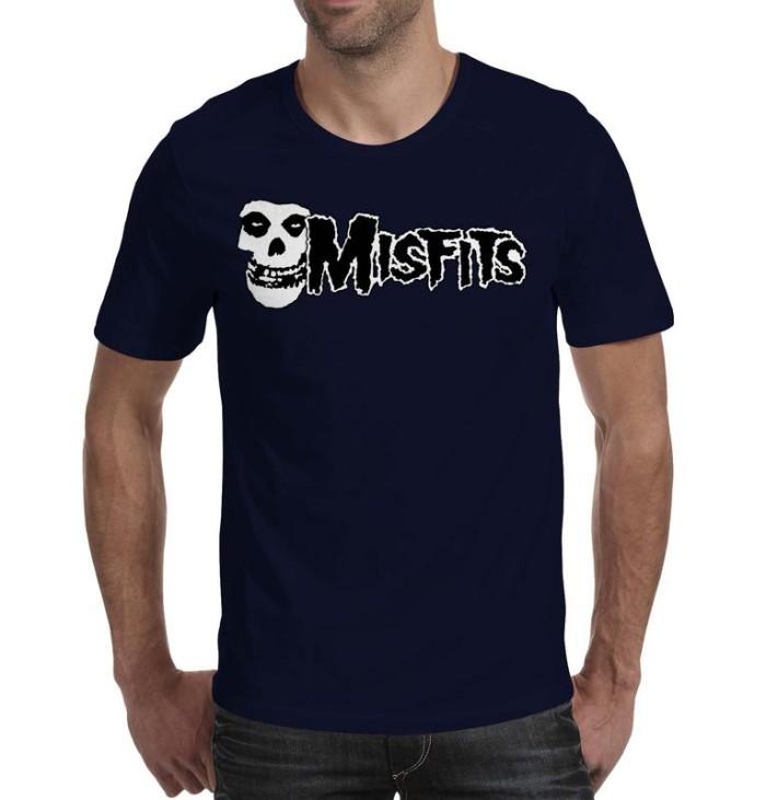 T Shirt Kaos Band Musik MISFITS Art 02 pria Wanita Warna Navy