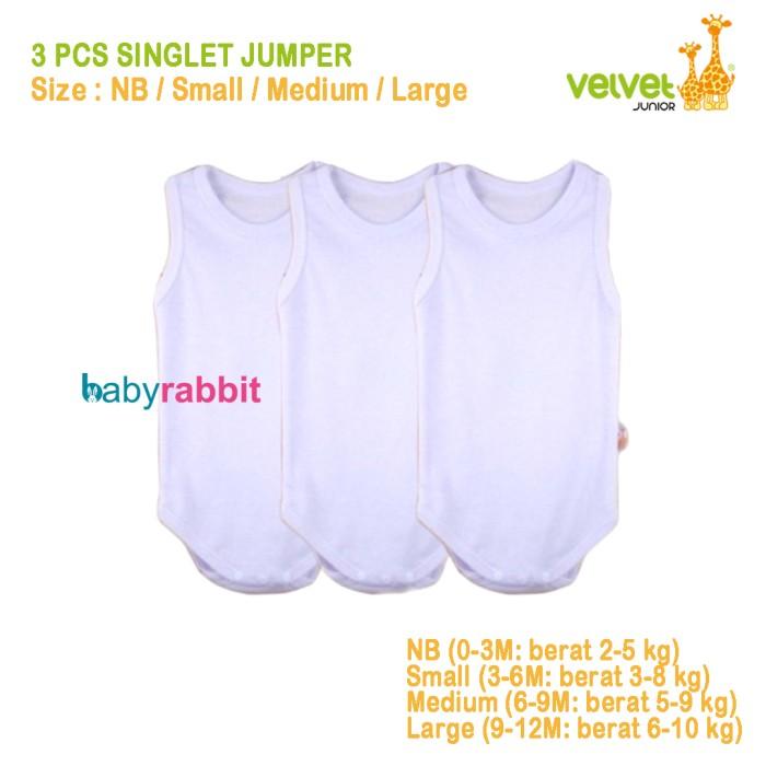harga 3 Pcs Singlet Jumper Velvet Junior - Size L (9-12 Bulan)