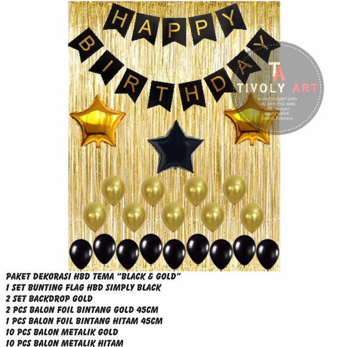 harga Paket dekorasi happy birthday tema  black & gold Tokopedia.com