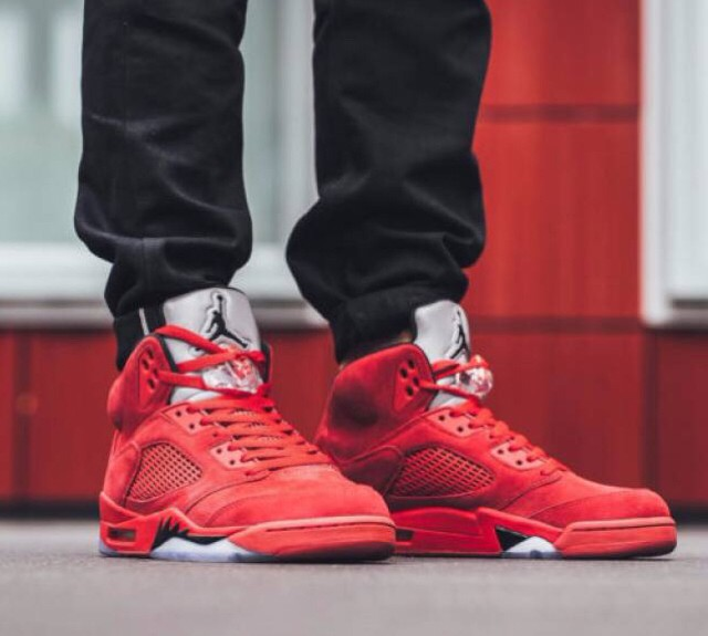 cd6d9ab03ab Jual Nike Air Jordan 5 Retro RED SUEDE Sneakers Sepatu Basket Pria ...