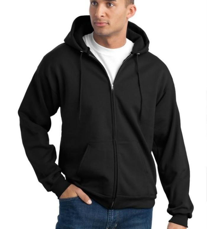 Jaket Sweater Hoodie Zipper Polos . Hitam Polos