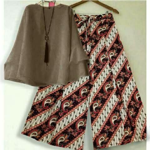 Setelan blouse baloteli coco xl celana kulot batik coklat modern 10 ta