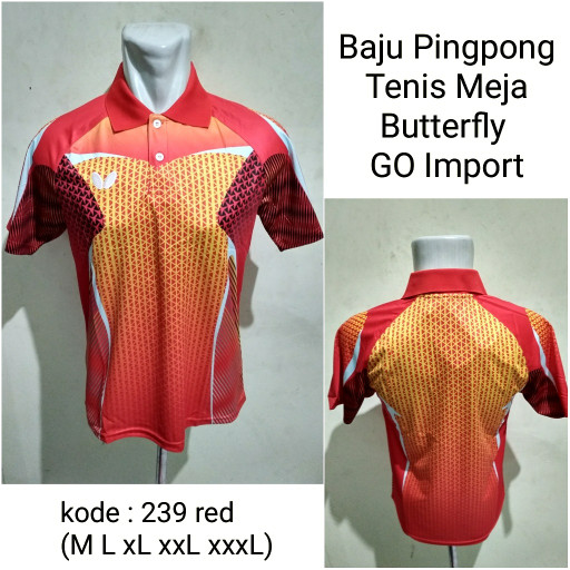 harga Kaos Tenis Meja Butterfly 239 Red Baju Olahraga Pingpong Import Tokopedia.com