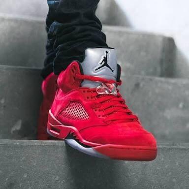 7f157fb6b31 Jual Nike AJ5 Air Jordan 5 Retro Red Suede Sepatu Basket Pria ...