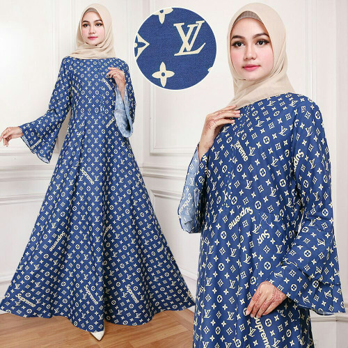 Jual Baju Busana Muslim Gamis Wanita Pakaian Hijab Maxi LV Navy ... 233e3ab0d9