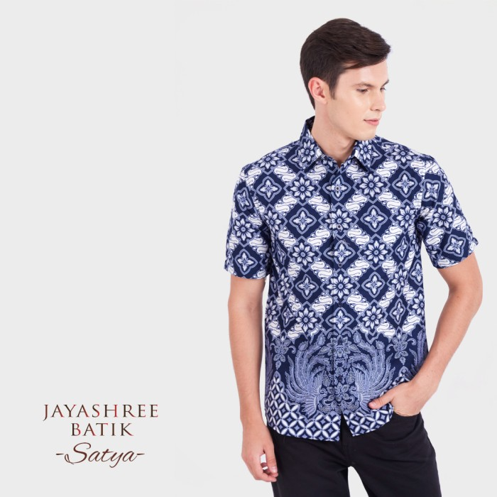 Jayashree batik kemeja satya slimfit short sleeve pria - biru s