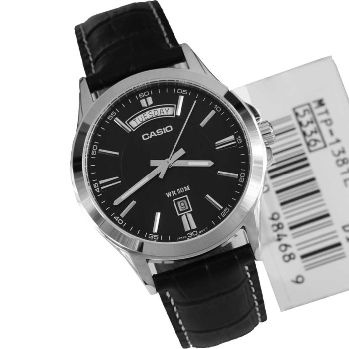 harga Casio analog jam tangan pria kulit hitam mtp-1381l-1a original Tokopedia.com