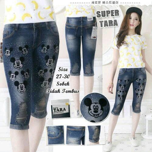 celana jeans wanita celana jeans pendek motif mickey mouse