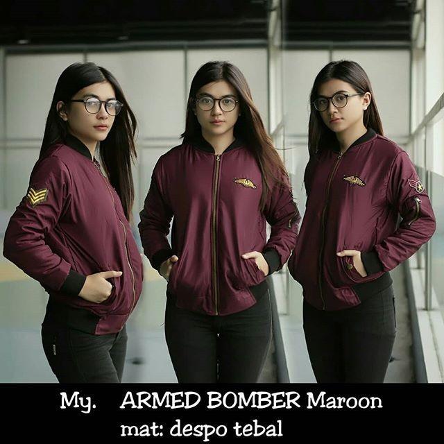 jaket wanita murah/ armed bomber maroon/ jaket despo