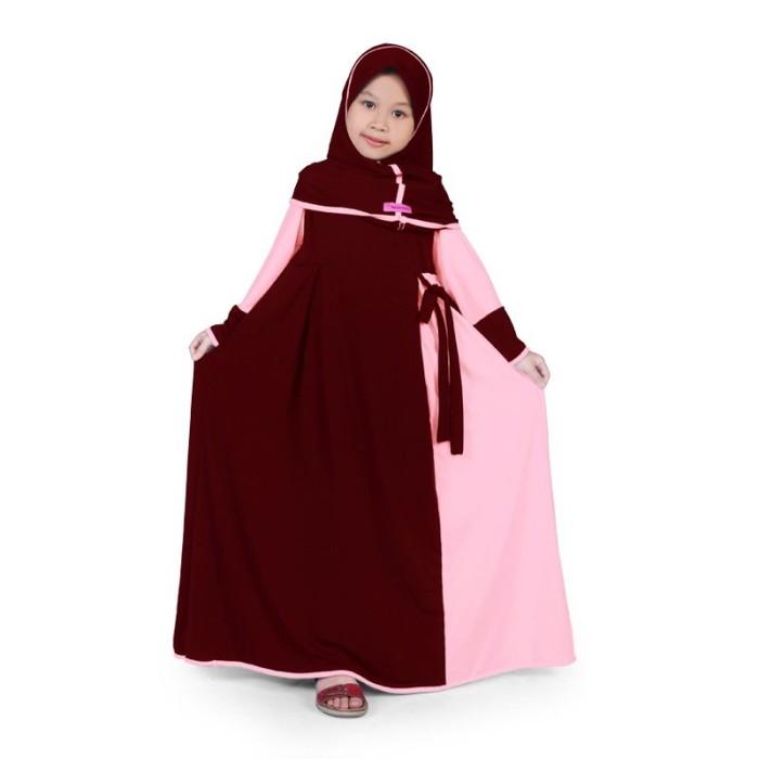 Foto Produk BAJUYULI - Gamis Baju Muslim Anak Perempuan Jersey Marun Peach MJRN01 - M dari Grone