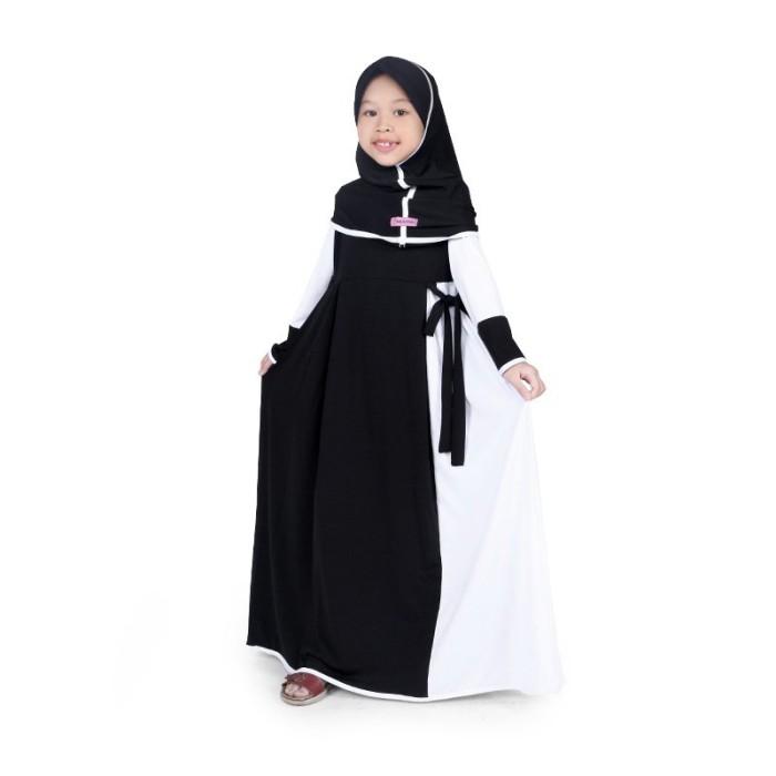 BAJUYULI - Gamis Baju Muslim Anak Perempuan Jersey Hitam Putih MJBK01
