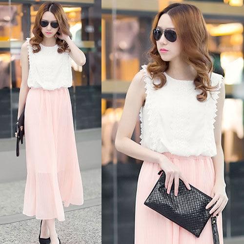 harga Pink white sleeveless bohemian long dress pesta brukat ld 90 pq import Tokopedia.com
