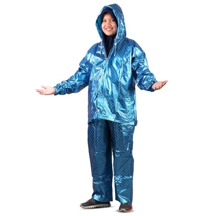 jas hujan jaket celana polkadot 810 plevia stelan raincoat murah - merah muda