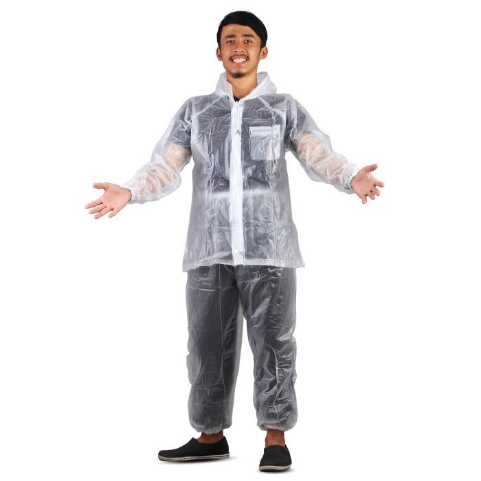 jas hujan jaket celana transparan 700 plevia stelan raincoat murah - ungu
