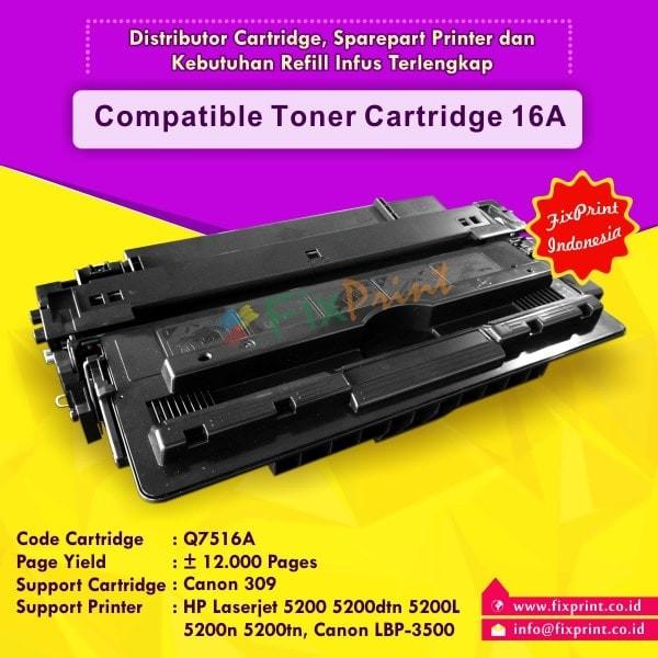 harga Cartridge compatible hp q7516a hp 16a canon 309, hp laserjet 5200 Tokopedia.com