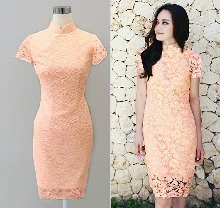 harga Dress Eunby Shanghai Brukat Peach Tokopedia.com