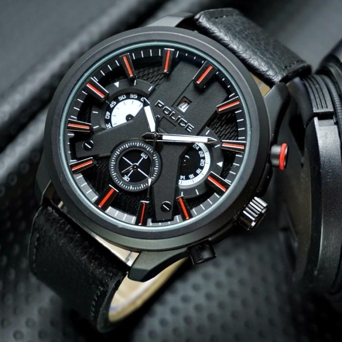 harga Jam tangan pria   cowok police absorb leather black red Tokopedia.com 6d0d6dc9e4