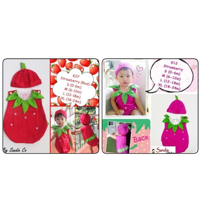 859575921 Jual Baju baby jumper bayi + topi karakter kostum buah strawberry ...