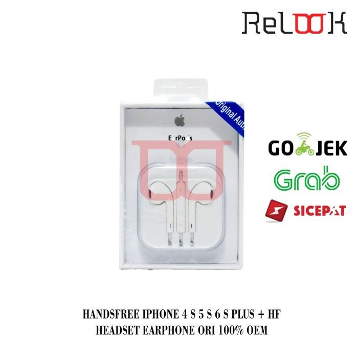 harga Handsfree iphone 4 s 5 s 6 s plus + hf headset earphone ori 100% oem Tokopedia.com